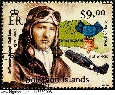 Moscow, Russia - April 27, 2021: Stamp Printed In Solomon Islands, Shows Jefferson J. Deblanc, Ameri