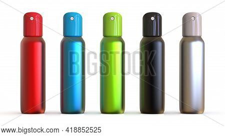Colored Blank Aluminum Spray Cans Isolated On White Background. Template Spray Bottles For Design. 3
