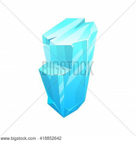 Ice Crystal, Iceberg Icon, Frozen Cube Of Snow, Vector Blue Cold Frost Glass Rock. Isolated Ice Rock
