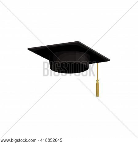 Cap Of College Or Hat Of University Education Student, Vector Icon. Isolated Academic Or School Grad