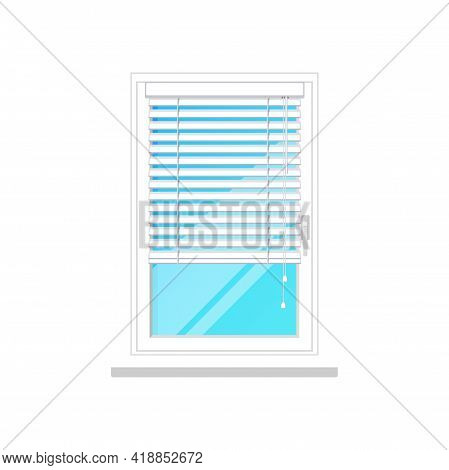 Window Blinds Shutters Or Jalousie Curtain, White Isolated Vector Icon. Closed Or Open Office And Ho