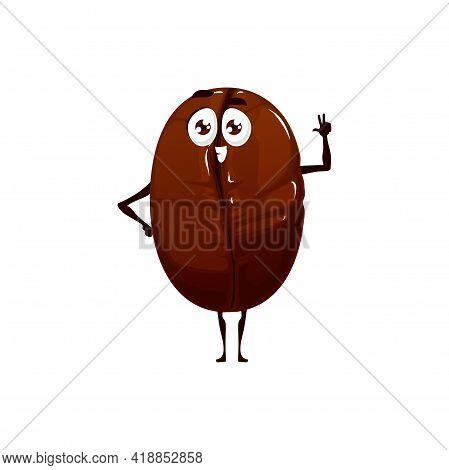 Coffee Bean Emoji Emoticon Isolated Americano Drink Ingredient Fat Cartoon Kids Character. Vector Co