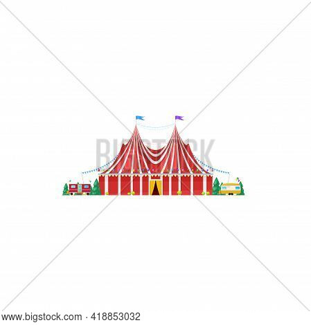 Shapito Traveling Circus Tent Isolated Striped Awning Icon. Vector Itinerant Big Top Circus, Facade