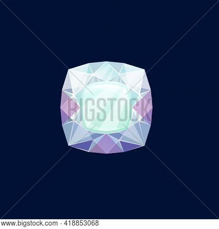 Gem Stone, Diamond Or Magic Crystal Vector Icon. Lilac Or Turquoise Rock, Faceted Mineral Of Square