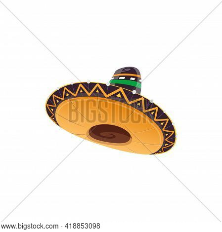Mexican Sombrero Hat Vector Icon, Spanish Headwear For Mexico Cinco De Mayo Festival. Isolated Carto