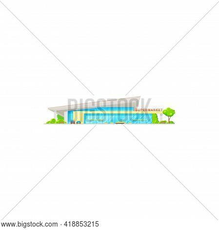 Supermarket, Store Mall Or Shop Front Icon, Vector Grocery Building And Big Hypermarket. Supermarket