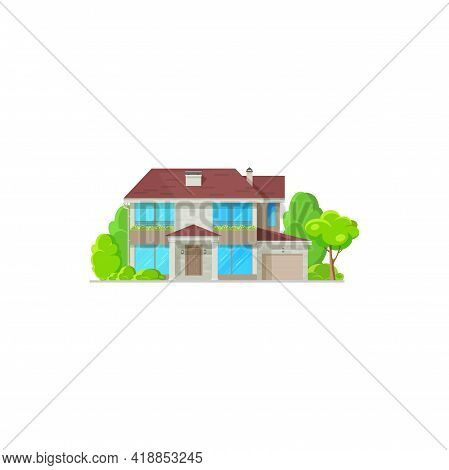 House, Home Villa Or Mansion Bungalow, Vector Facade Isolated Flat Icon. Residential Building, Famil
