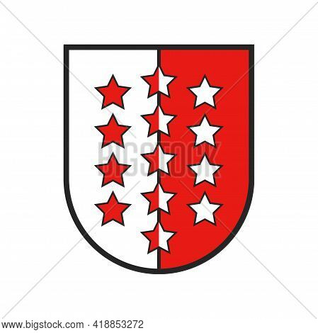 Switzerland Canton Flag And Swiss Coat Of Arms, Vector Valais State Sign Shield, Vector. Schweiz Kan