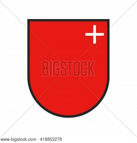 Switzerland, Swiss State Canton Flag Or Crest And Schwyz City Vector Coat Of Arms. Swiss Canton Or S