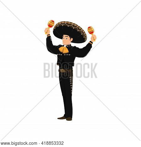 Spanish Street Band Player Mariachi Plays On Maracas Isolated Cartoon Character. Vector Performer Wi