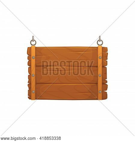 Wooden Sign Board On Metal Chains Isolated Realistic Icon. Vector Retro Billboard With Nails, Wood P
