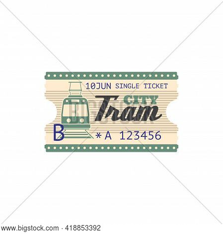 Urban Transport Services Ticket With Data Of Use Isolated Template. Vector Numbered Perforated Passe