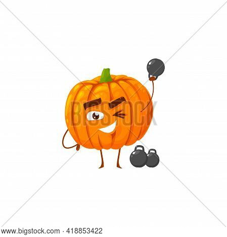 Cartoon Pumpkin Sportsman Vector Icon, Funny Winking Vegetable Character Workout With Dumbbells Spor