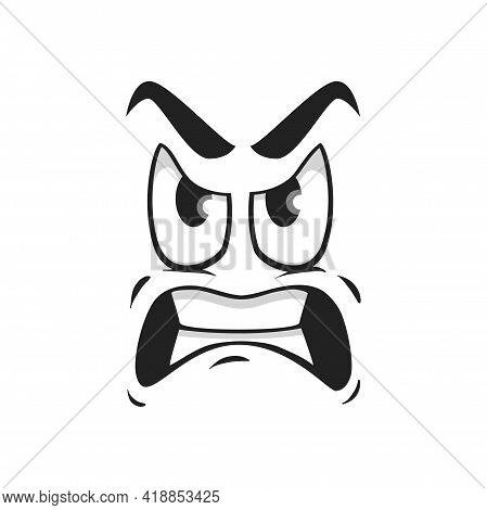 Cartoon Face Vector Icon, Emoji With Angry Eyes And Gnash Teeth. Negative Facial Expression, Angry F