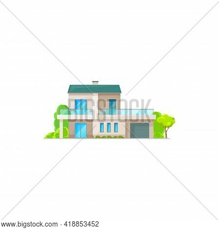 Mansard Or Private Apartment, Townhouse Urban Home With Garage And Mansard, Realistic Dwelling With