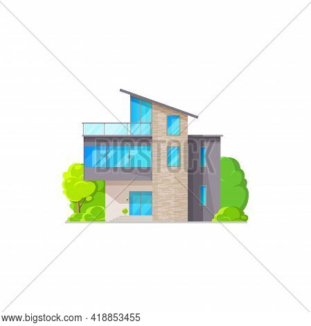 Facade Of Luxury Patio, Chalet Country House, Contemporary Building Isolated Icon. Vector Country St