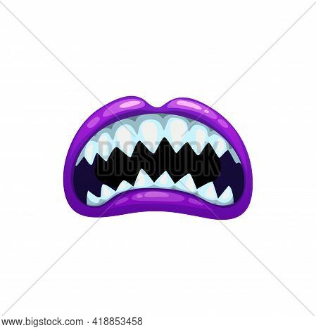 Monster Mouth, Roar Scary Purple Jaws With Sharp Teeth, Vector Open Yell Maw. Cartoon Beast Roar Or