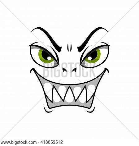Monster Face Cartoon Vector Icon, Gloat Smiling Emotion With Angry Eyes And Laughing Toothy Mouth. M