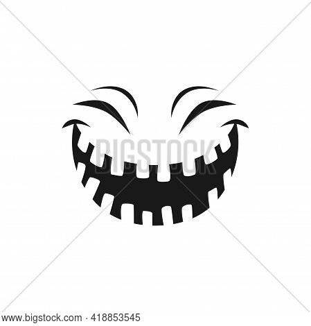 Halloween Laughing Face Vector Icon, Happy Monster Emotion, Funny Toothy Smile With Screwed Up Eyes.