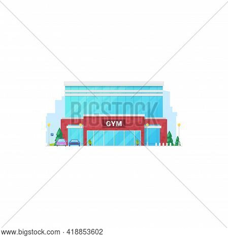 Gym Sport Club Isolated City Architecture Building Front View Facade. Vector Urban City Training Gym