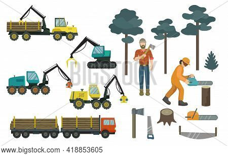 Big Set Of Forestry Industry, Vehicles And Equipment. Vector Illustration.