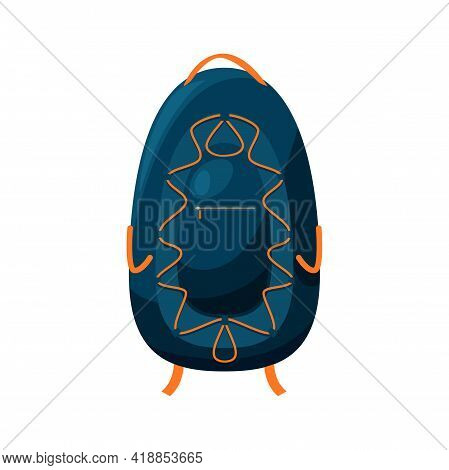 Rucksack, Knapsack Or Trekking Backpack Isolated Trekking Camp Back Pack Traveling Bag Cartoon Icon.