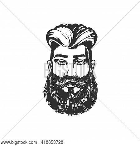 Bearded Man With Moustaches Isolated Model In Barber Shop Saloon. Vector Handsome Male With Stylish