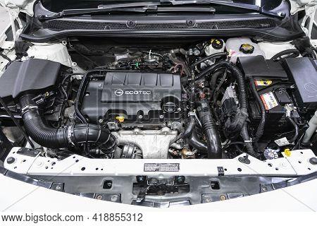Novosibirsk, Russia - April 25 2021: Opel Astra, Car Engine Close-up. Internal Combustion Engine, Ca