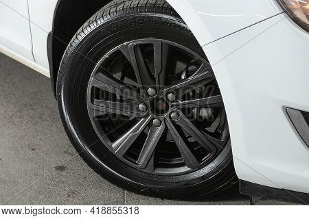 Novosibirsk, Russia - April 25 2021: Opel Astra, Close Up Of Car Wheel