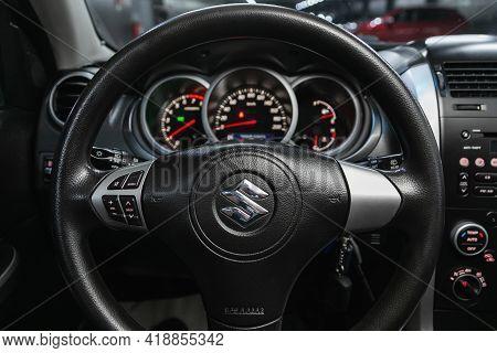 Novosibirsk, Russia - April 25 2021: Suzuki Grand Vitara, Auto Interior: Steering Wheel With Logo An