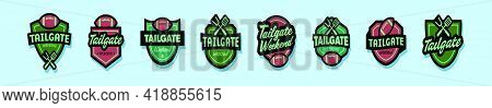 Set Of Tailgates Party Cartoon Icon Design Template With Various Models. Modern Vector Illustration