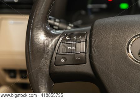 Novosibirsk, Russia - April 25 2021: Lexus Rx, Vehicle Interior Of A Modern Car With Voice Control B