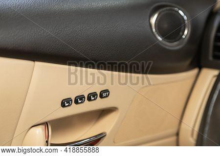 Novosibirsk, Russia - April 25 2021: Lexus Rx, Close-up Of Seat Adjustment Buttons. Modern Car Inter