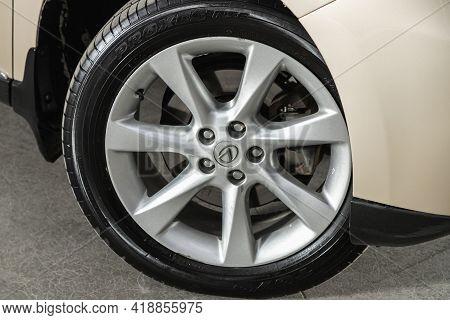 Novosibirsk, Russia - April 25 2021: Lexus Rx, Close Up Of Car Wheel