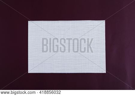 Two-color Background. White Rectangular Blank Textile Background On Dark Brown Background. Textile B