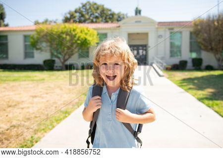 Portrait Of Kid School Boy Enjoy School Vacation. Day Out Or Weekend. Vacation Or School Break. Go T