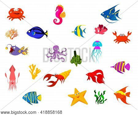 Set Of Sea Fish And Algae, Crab, Seahorse, Starfish, Octopus, Crayfish. Vector Isolated On White Bac