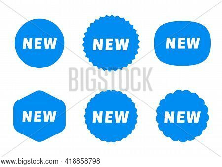 Set Of New Stickers. Sale Tags Label Design. Blue Shopping Tags Icons. Vector New Label Set.