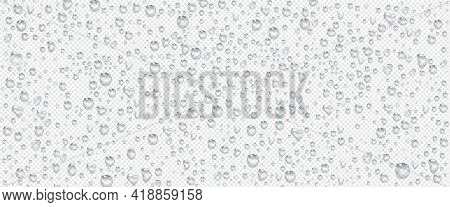 Condensation Water Drops On Transparent Background. Rain Droplets With Light Reflection On Window Or