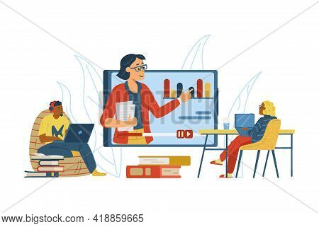 People Participating In Online Training Or Webinar, Flat Vector Illustration.