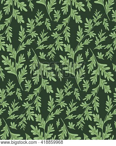 Wormwood Herbaceous Seamless Pattern On Dark Green Background. Fabric With Grass Fields. Wallpaper W