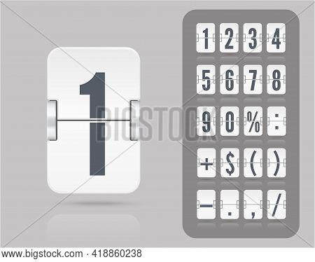 White Analog Flip Airport Board Countdown Timer. Retro Scoreboard Modern Ui. Vector Old Time Meter O
