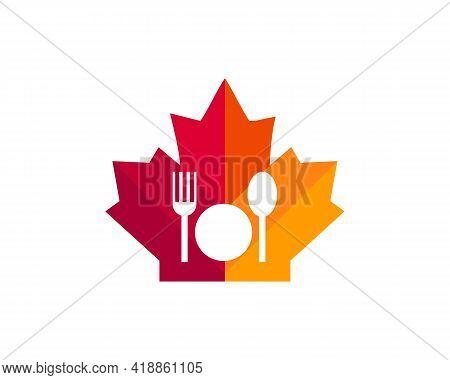 Maple Fork Logo Design. Canadian Restaurant Logo. Red Maple Leaf With Fork And Spon Vector