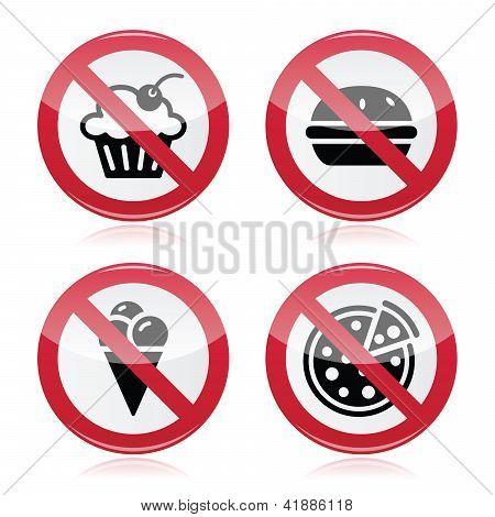 No fast food, no sweets warning red sign