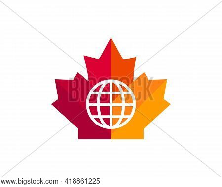 Global Maple Logo. Canadian Red Maple With Global Earth Logo