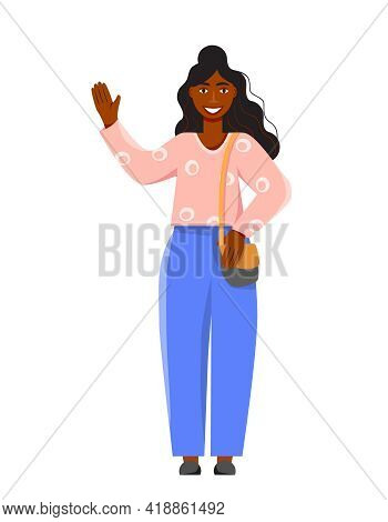 Smiling Girl Waving Hand. Young Dark-skinned Woman Saying Hello. Happy Female Character Greeting A F