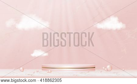 Minimal Podium Display With Pink And Yellow Gold Cylinder Stand On Rose Gold Foil Marble,vector Real