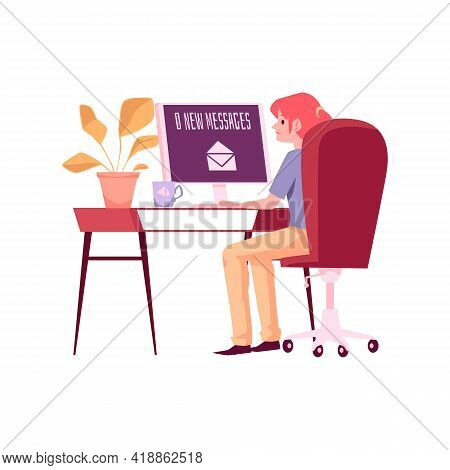 Lonely Unhappy Woman Waiting For Messages, Flat Vector Illustration Isolated.