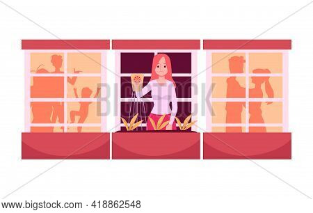 Lonely Young Woman With Sad Expression On Face Is Watering Plants On Balcony.