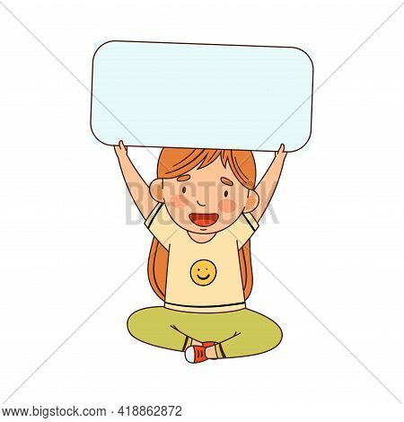 Little Redhead Girl Sitting With Raised Hands And Holding Empty Rectangular Plaque Vector Illustrati